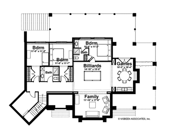 Adobe / Southwestern Floor Plan - Lower Floor Plan Plan #928-182