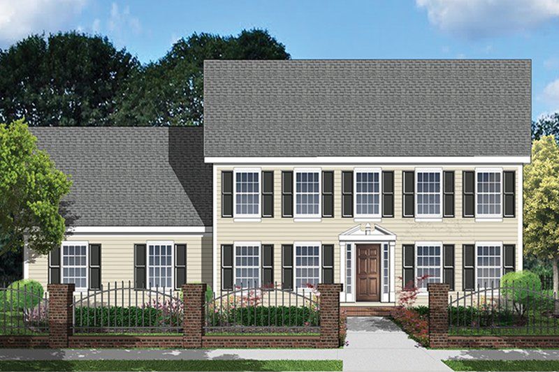 Architectural House Design - Colonial Exterior - Front Elevation Plan #1053-71