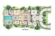 Mediterranean Style House Plan - 5 Beds 5.5 Baths 8001 Sq/Ft Plan #548-5 Floor Plan - Main Floor