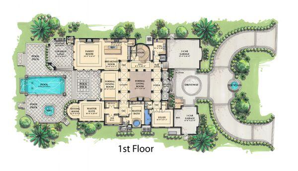 Mediterranean Floor Plan - Main Floor Plan #548-5