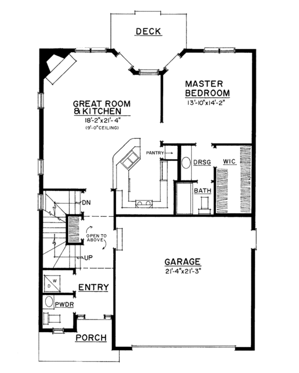 Country Floor Plan - Main Floor Plan Plan #1016-110