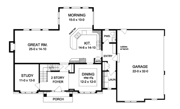 Colonial Floor Plan - Main Floor Plan Plan #1010-95