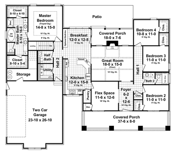 Craftsman Floor Plan - Main Floor Plan Plan #21-438