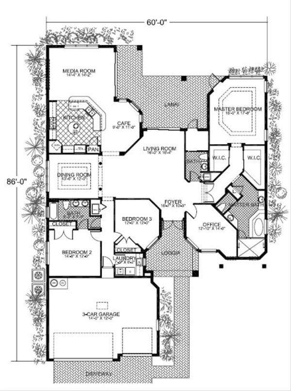 Mediterranean Floor Plan - Main Floor Plan Plan #420-214