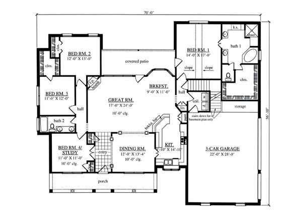 Southern Floor Plan - Main Floor Plan Plan #42-395