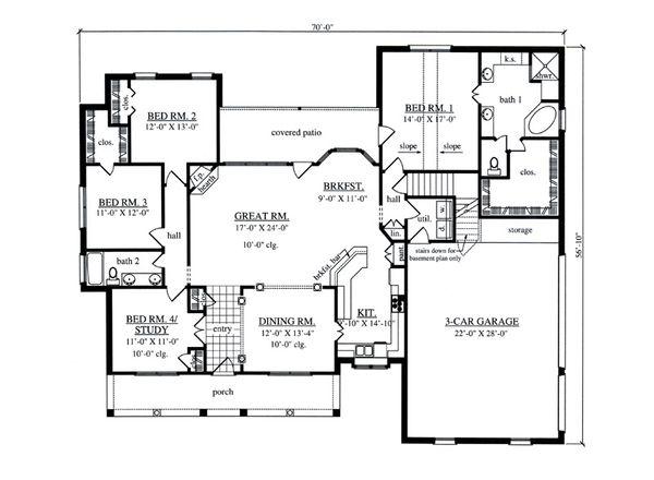 Dream House Plan - Southern Floor Plan - Main Floor Plan #42-395