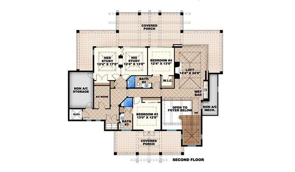 Country Floor Plan - Upper Floor Plan Plan #27-487