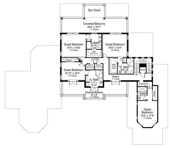 Beach Floor Plan - Upper Floor Plan Plan #938-102