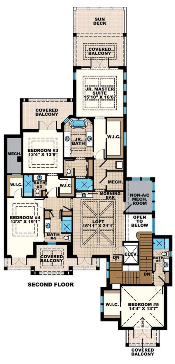 Beach Floor Plan - Upper Floor Plan Plan #27-541