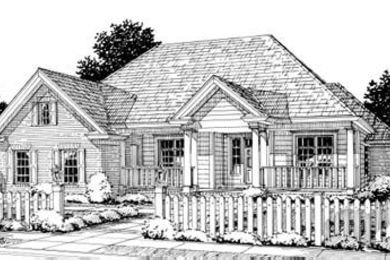 Cottage Style House Plan - 4 Beds 3 Baths 2694 Sq/Ft Plan #20-1362 Exterior - Front Elevation
