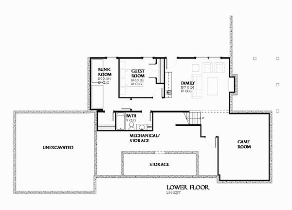 Ranch Floor Plan - Lower Floor Plan Plan #901-128