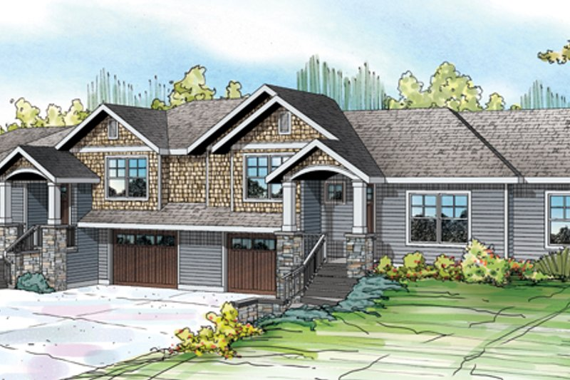 Craftsman Style House Plan - 3 Beds 2.5 Baths 1474 Sq/Ft Plan #124-889 Exterior - Front Elevation