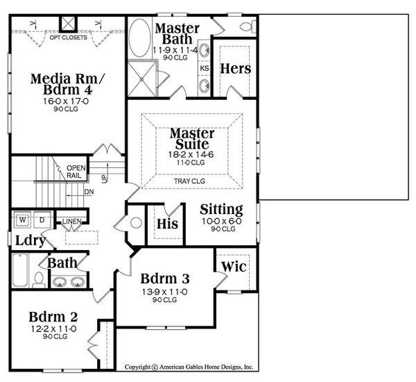 Craftsman Floor Plan - Upper Floor Plan Plan #419-281