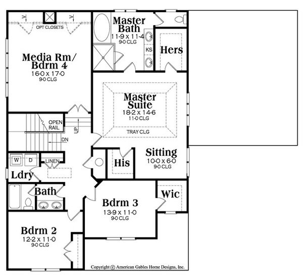 Craftsman Floor Plan - Upper Floor Plan Plan #419-281