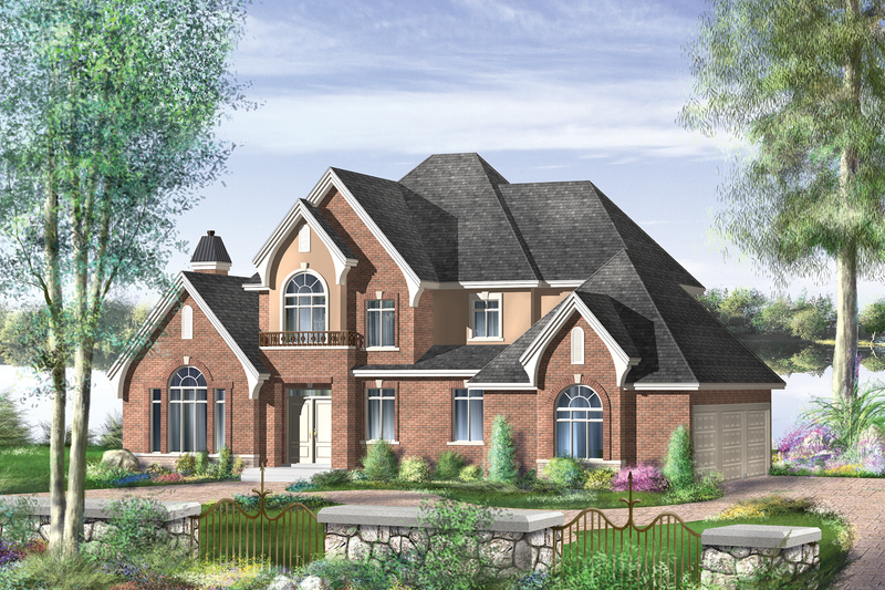 European Style House Plan - 4 Beds 2 Baths 2659 Sq/Ft Plan #25-4669 Exterior - Front Elevation