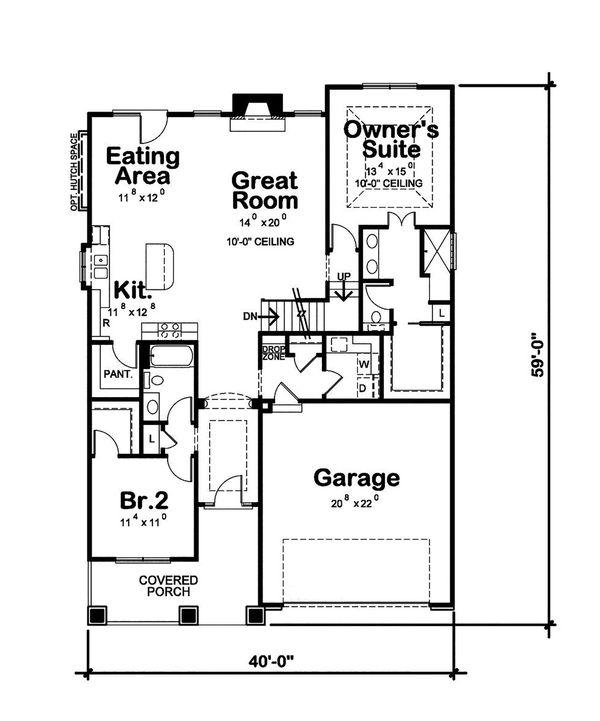 House Blueprint - Craftsman Floor Plan - Main Floor Plan #20-2415