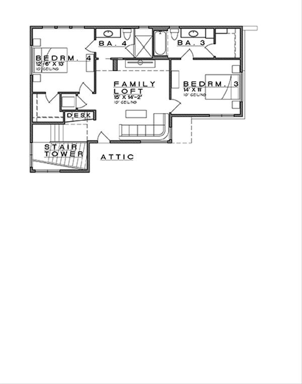 Contemporary Floor Plan - Upper Floor Plan Plan #935-14
