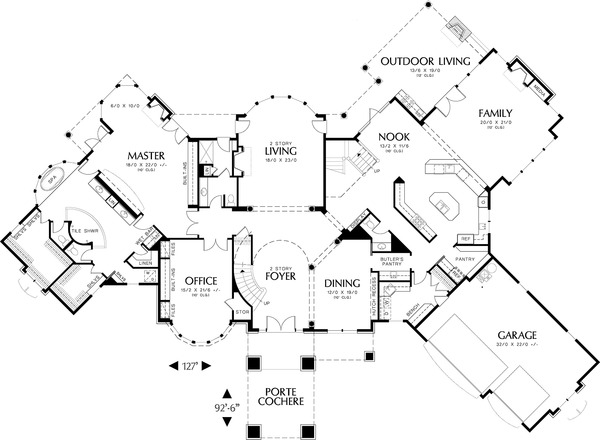 Architectural House Design - Main Level Floor Plan  - 6500 square foot European home