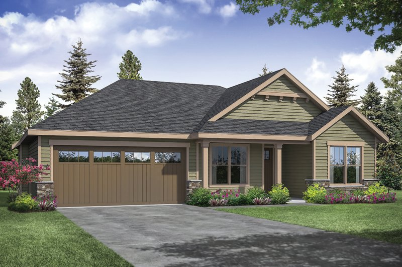 Ranch Style House Plan - 3 Beds 2 Baths 1610 Sq/Ft Plan #124-1161 Exterior - Front Elevation