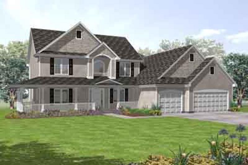 Country Style House Plan - 5 Beds 4 Baths 3114 Sq/Ft Plan #50-259 Exterior - Front Elevation