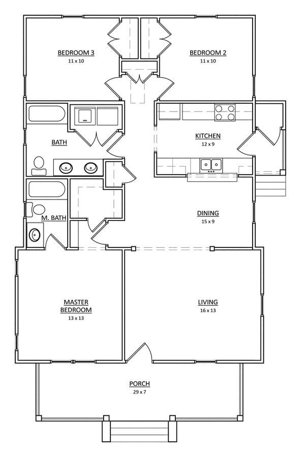 Craftsman Floor Plan - Main Floor Plan Plan #936-19
