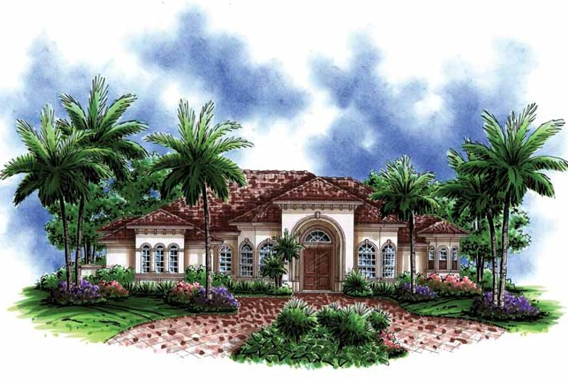 Mediterranean Exterior - Front Elevation Plan #1017-145