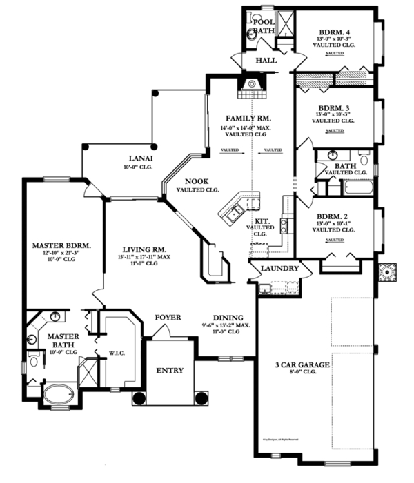 Mediterranean Floor Plan - Main Floor Plan Plan #1058-45