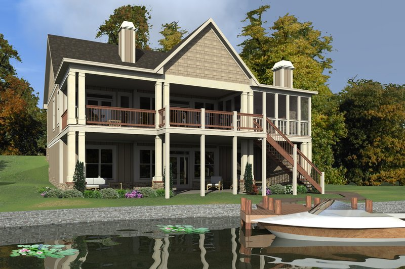 Traditional Style House Plan - 4 Beds 4 Baths 2805 Sq/Ft Plan #63-431 Exterior - Front Elevation