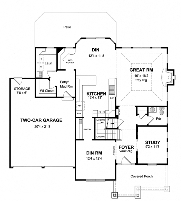 Colonial Floor Plan - Main Floor Plan Plan #316-280