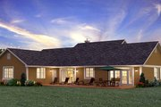 Ranch Style House Plan - 3 Beds 2 Baths 1924 Sq/Ft Plan #427-6 Exterior - Rear Elevation