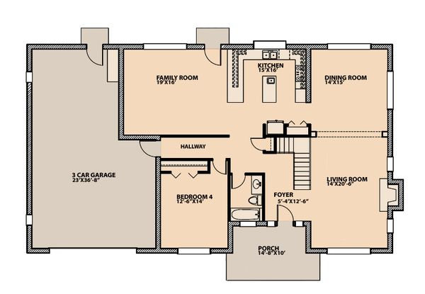 Traditional Floor Plan - Main Floor Plan Plan #515-3