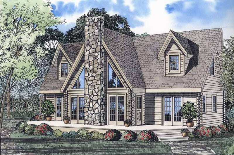 Log Exterior - Front Elevation Plan #17-2971