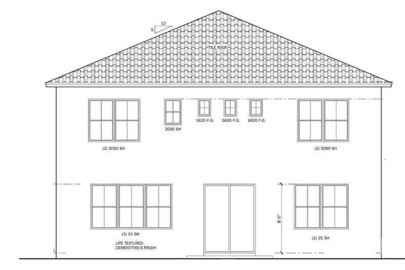 Mediterranean Exterior - Rear Elevation Plan #1058-61 - Houseplans.com