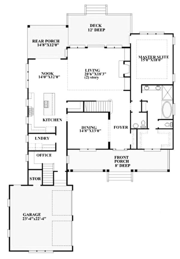Traditional Floor Plan - Main Floor Plan Plan #991-30