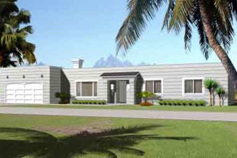 Adobe / Southwestern Style House Plan - 3 Beds 2 Baths 1616 Sq/Ft Plan #1-1309 Exterior - Front Elevation