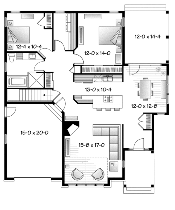Architectural House Design - Country Floor Plan - Main Floor Plan #23-2574