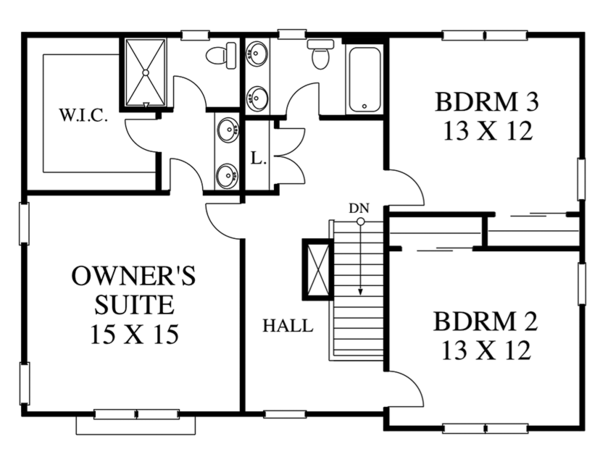 Traditional Floor Plan - Upper Floor Plan Plan #1053-76