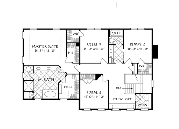 Architectural House Design - Colonial Floor Plan - Upper Floor Plan #927-956
