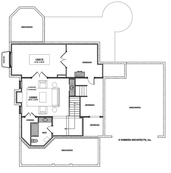 Traditional Floor Plan - Lower Floor Plan #928-299