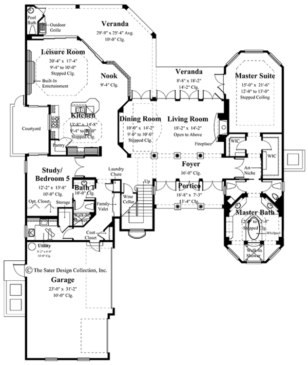Mediterranean Floor Plan - Main Floor Plan Plan #930-334