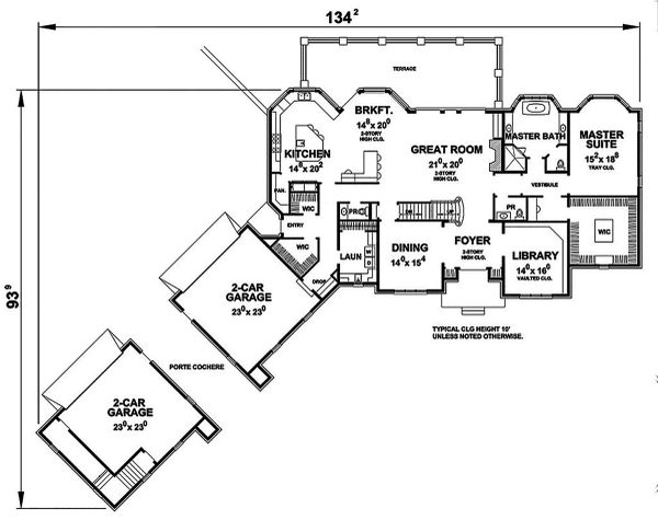 House Plan Design - European Floor Plan - Main Floor Plan #20-2379