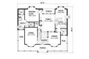 Country Style House Plan - 5 Beds 3.5 Baths 3040 Sq/Ft Plan #40-438 Floor Plan - Main Floor