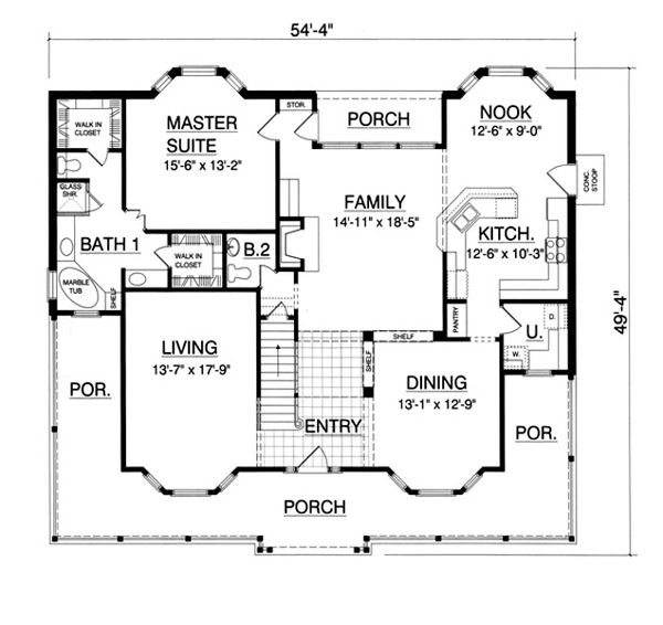 Country Floor Plan - Main Floor Plan Plan #40-438