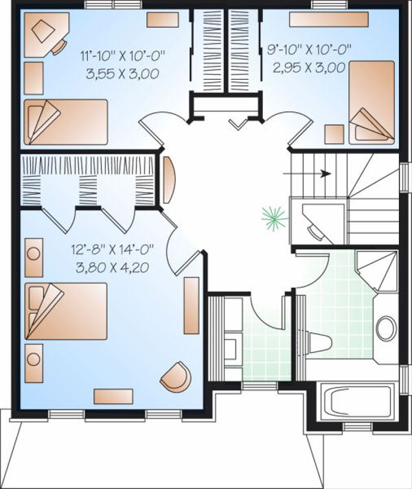 Traditional Floor Plan - Upper Floor Plan Plan #23-734