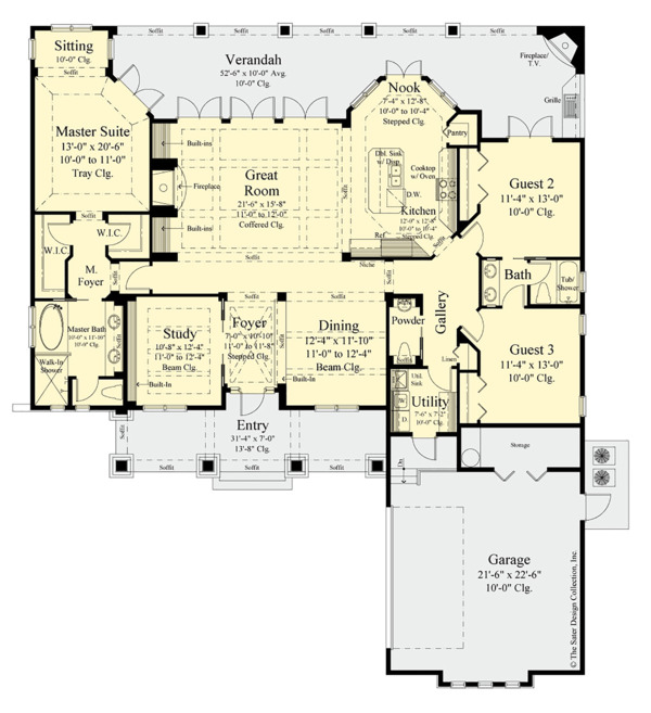 Craftsman Floor Plan - Main Floor Plan Plan #930-499