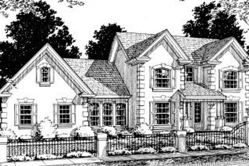 European Exterior - Front Elevation Plan #20-317