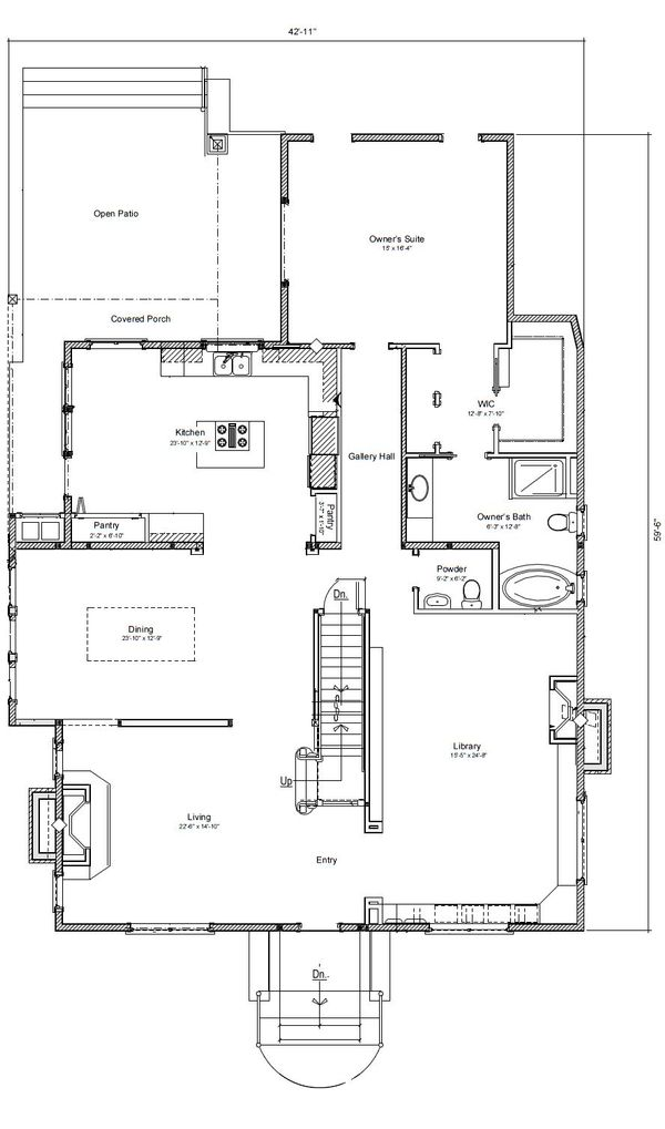 Colonial Style House Plan - 3 Beds 2 Baths 3230 Sq/Ft Plan #451-26 Floor Plan - Main Floor Plan