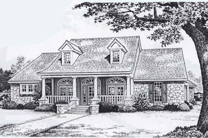 Traditional Style House Plan - 3 Beds 2.5 Baths 2387 Sq/Ft Plan #310-829 Exterior - Front Elevation