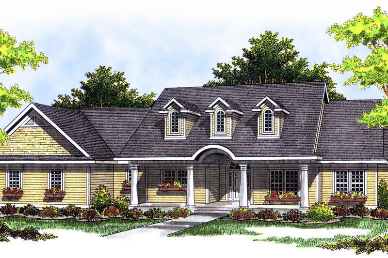 Country Exterior - Front Elevation Plan #70-197 - Houseplans.com