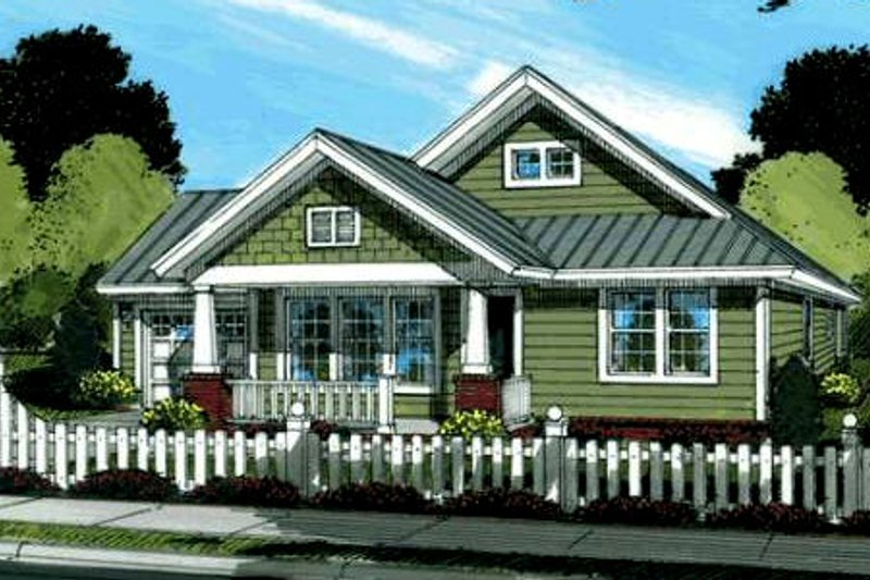 Craftsman Style House Plan - 3 Beds 2 Baths 1260 Sq/Ft Plan #20-1880 Exterior - Front Elevation